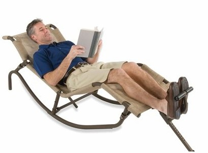 foot propelled rocking outdoor lounger