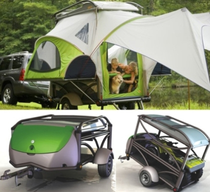 This camper van conveniently turns into a tent complete with sleeping