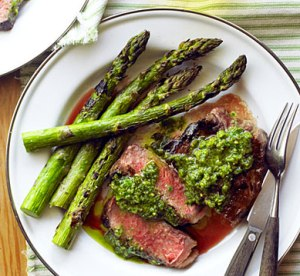 Rib Eye Steaks with Asparagus and Pistachio Butter
